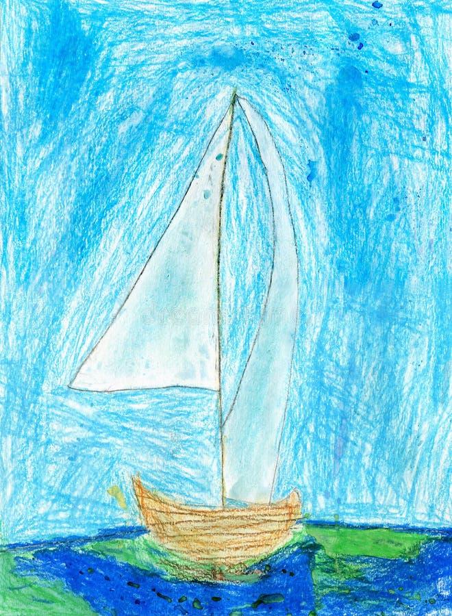 Childstekening van Zeilboot, Oliepastelkleuren royalty-vrije stock foto