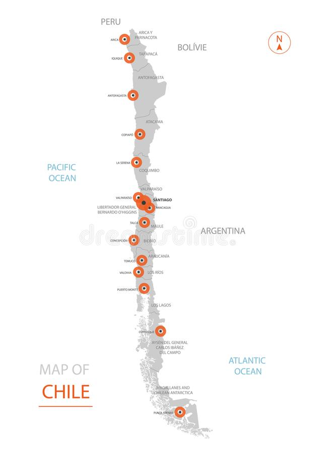 Chile översikt med administrativa uppdelningar vektor illustrationer