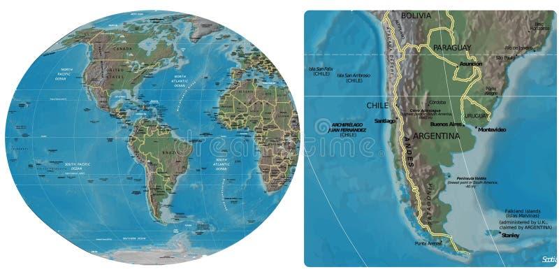 Chile Argentyna Paraguay Urugwaj i Ameryki mapa ilustracja wektor