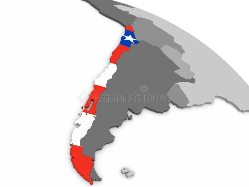 Chile auf Kugel mit Flagge stock abbildung