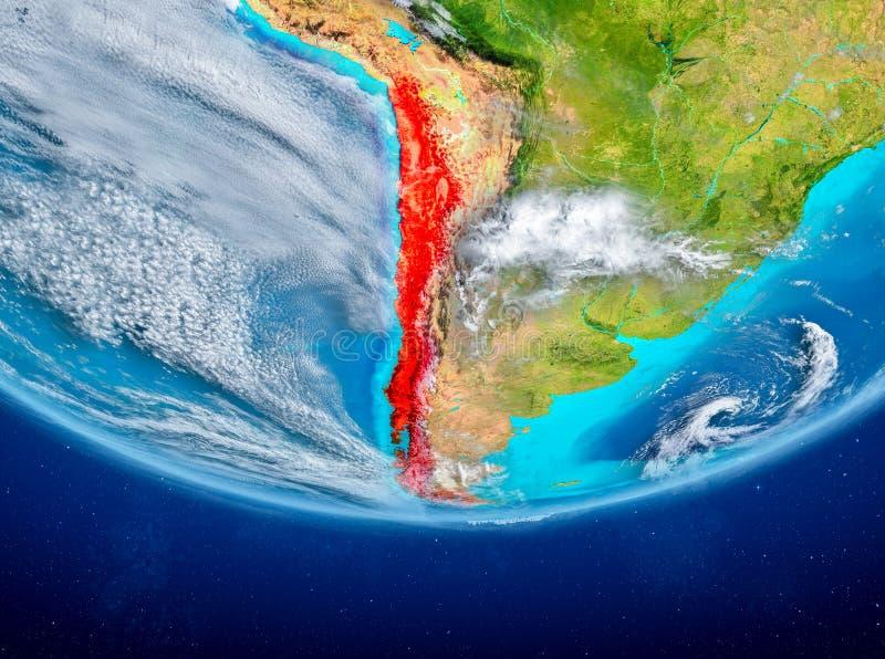 Chile auf Kugel vom Raum lizenzfreie abbildung
