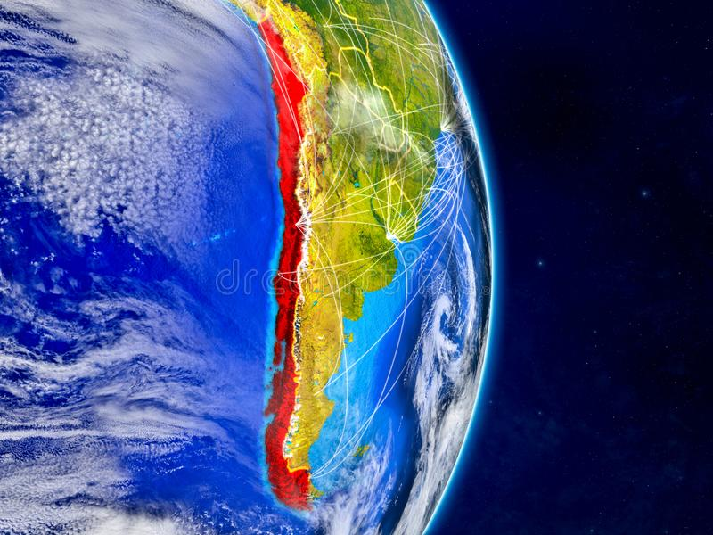 Chile auf Planet Erde mit Netzen Extrem ausführliche Planetenoberfläche und -wolken Abbildung 3D Elemente dieses Bildes lizenzfreie abbildung