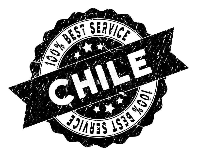 Chile Best usługa znaczek z Brudną teksturą ilustracja wektor