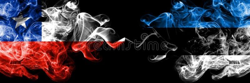 Chile contra Estonia, banderas místicas ahumadas estonias colocadas de lado a lado Grueso coloreado sedoso fuma la combinación de libre illustration