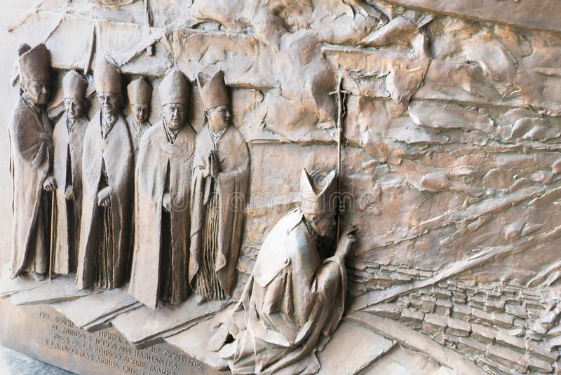 Chile Coquimbo carries carved with bishops in prayer royalty free stock photo