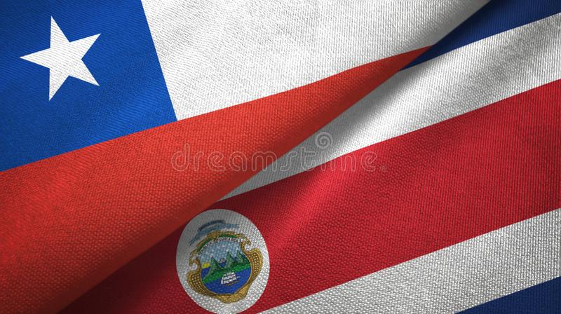 Chile and Costa Rica two flags textile cloth, fabric texture stock illustration