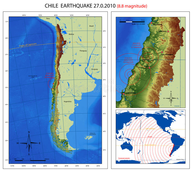 Chile Earthquake 2010 Map. A series of maps about the 8.8 magnitude earthquake from Chile (27 february 2010), from Maule offshore (near Concepcion city). The