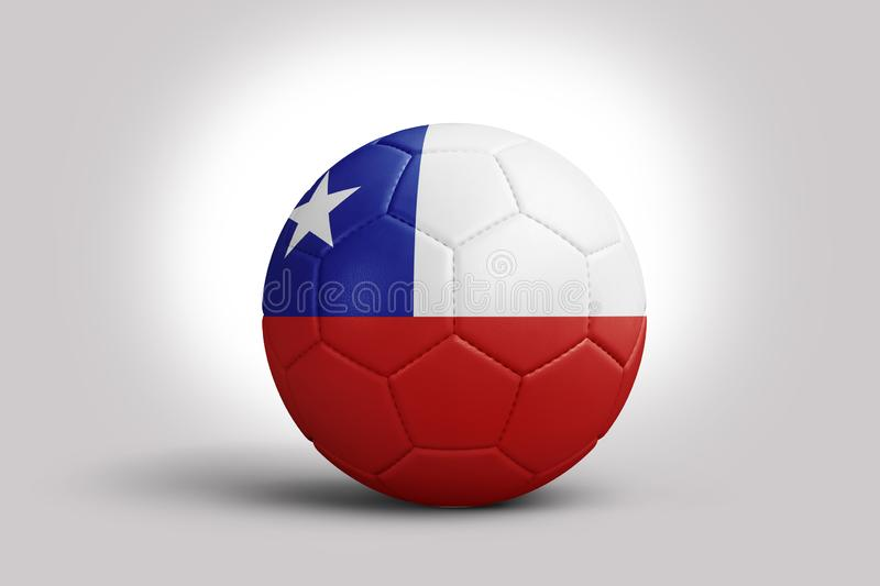 Chile flag on ball, 3d rendering. Soccer ball in 3d illustration. Copa America 2019 CONMEBOL, Chile flag on ball, 3d rendering. Soccer ball in 3d illustration stock illustration