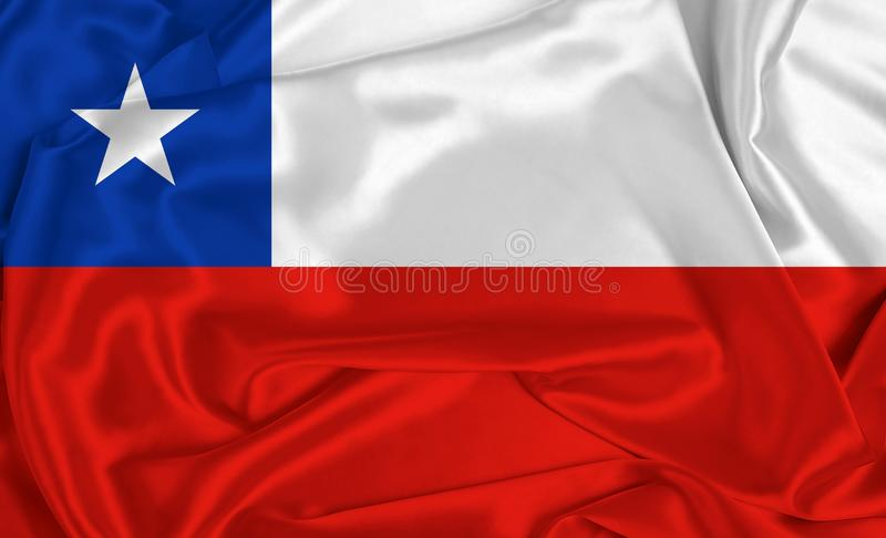 Silk Chile Flag. A Chile flag over silk texture stock photography