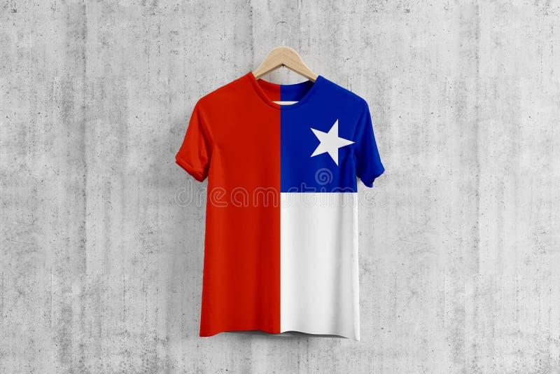 Chile flag T-shirt on hanger, Chilean team uniform design idea for garment production. National wear stock illustration