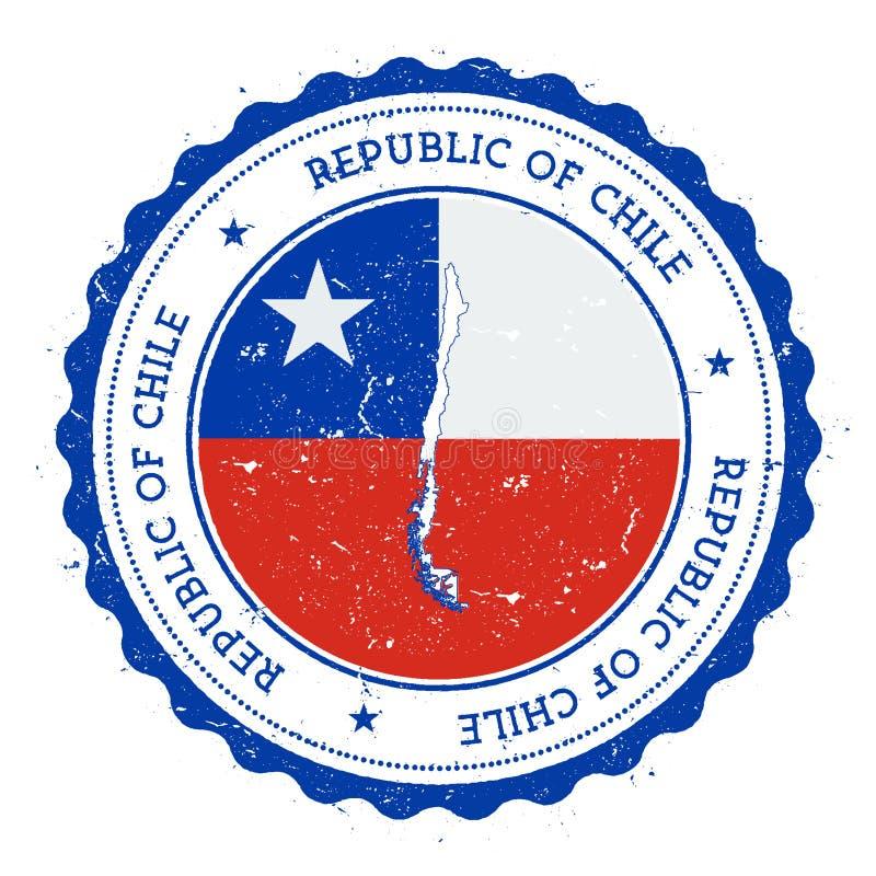 Chile flaga w rocznik pieczątce i mapa ilustracji