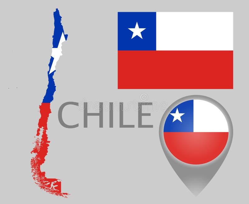 Chile flagga, översikt och översiktspekare vektor illustrationer