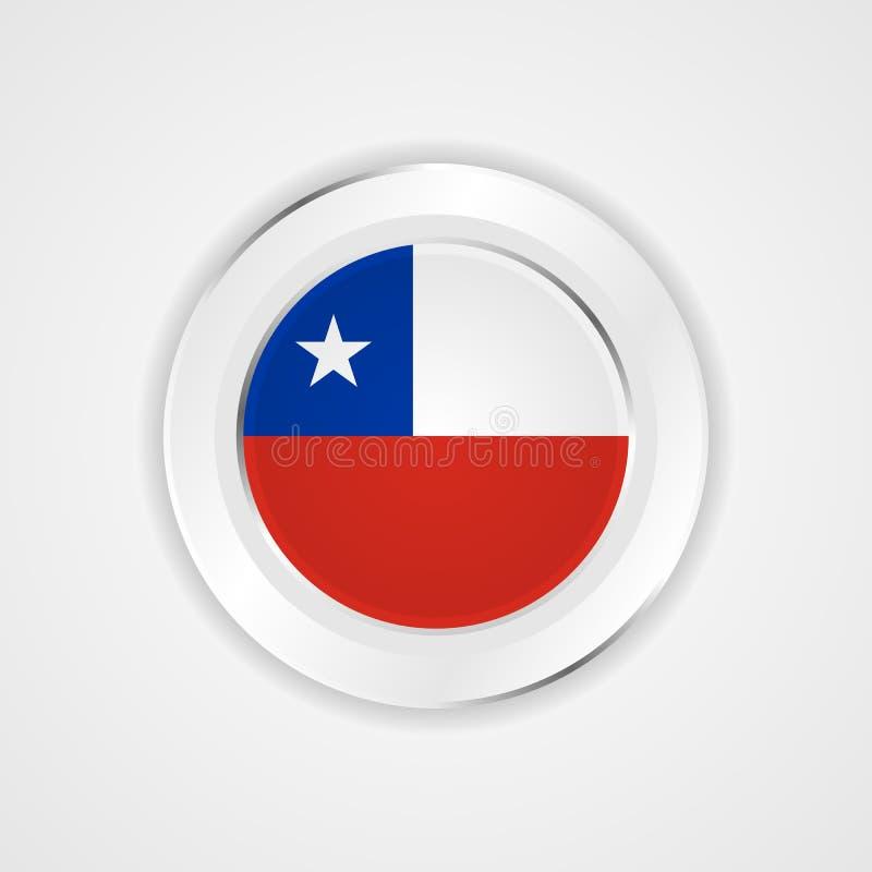 Chile flagga i glansig symbol stock illustrationer