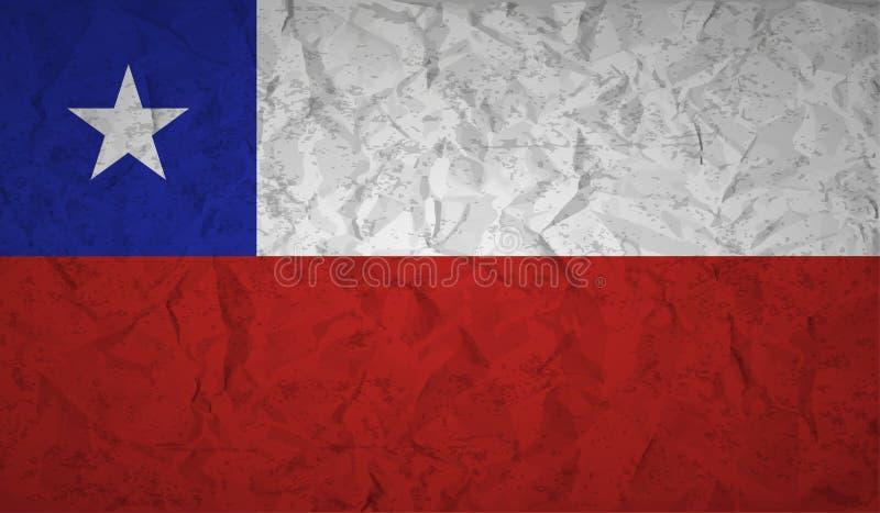 Chile flagga med effekten av skrynkligt papper och grunge vektor illustrationer