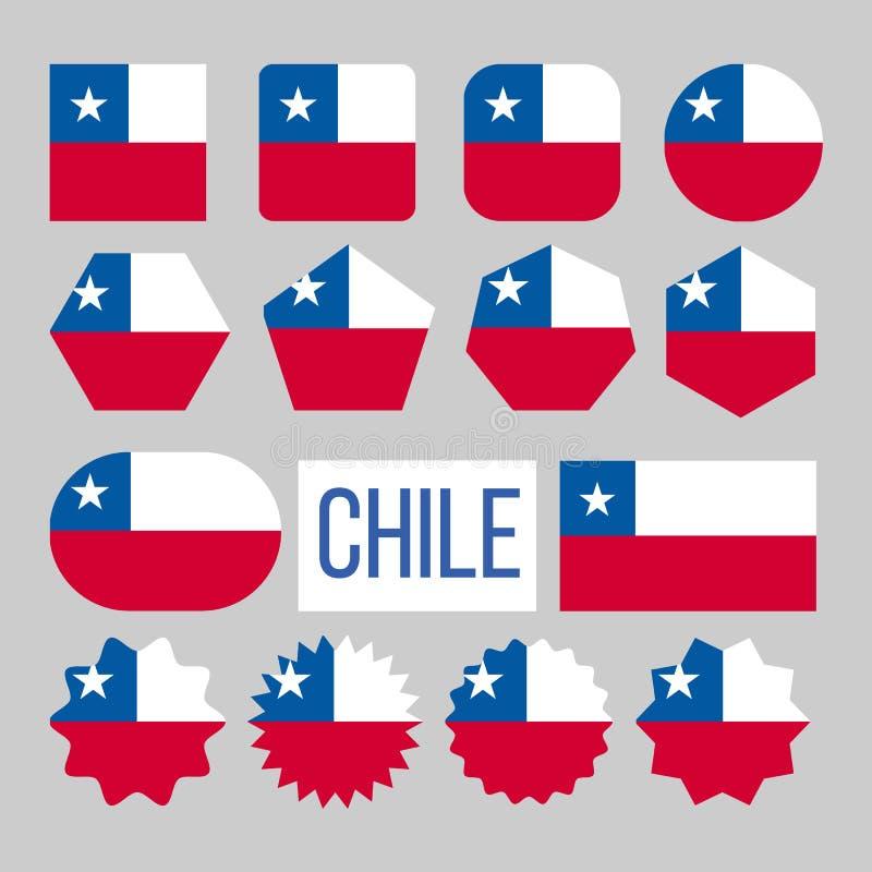 Chile flagi postaci Inkasowe ikony Ustawiaj?cy wektor ilustracja wektor