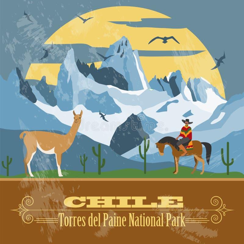 Chile gränsmärken Retro utformad bild vektor illustrationer