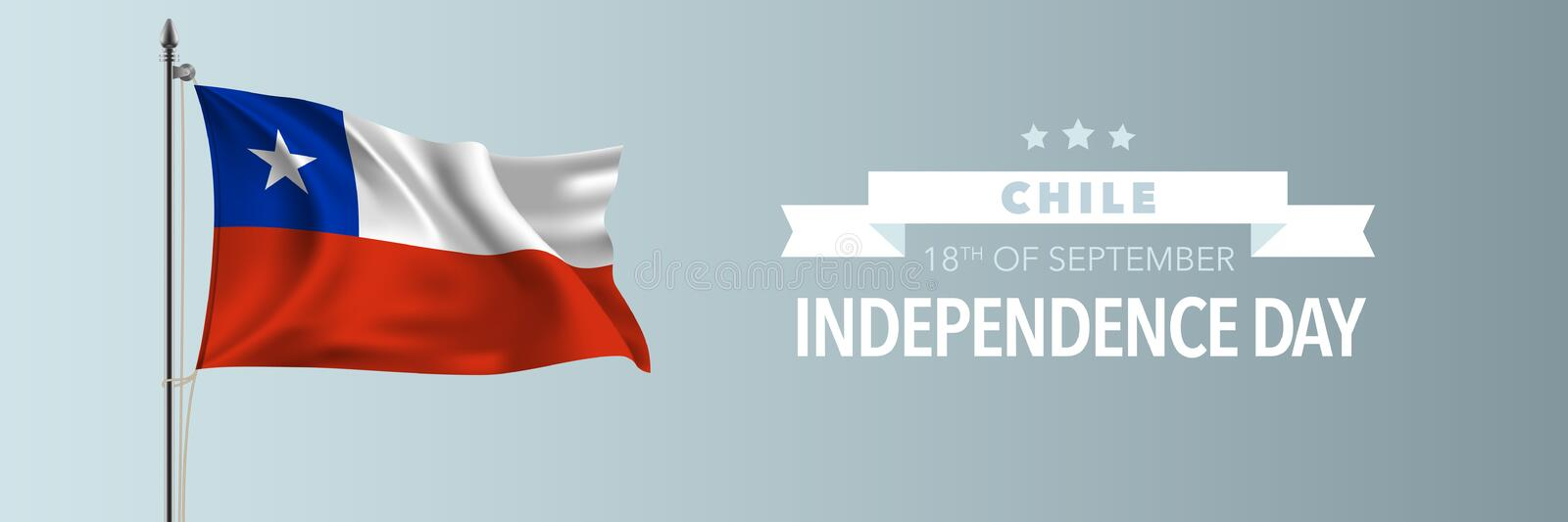 Chile happy independence day greeting card, banner vector illustration stock image