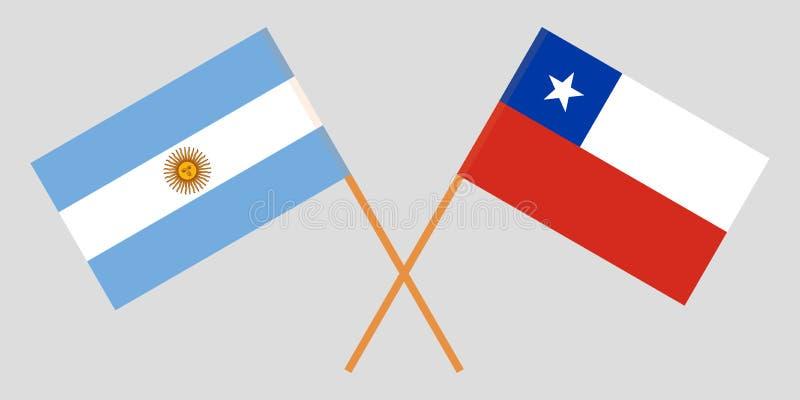 Chile i Argentyna Chilijczyka i Argentinean flagi ilustracja wektor