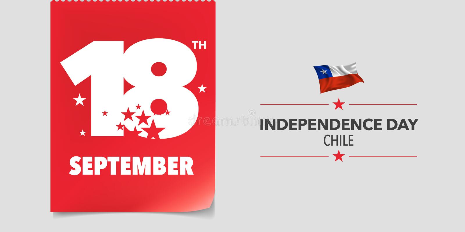 Chile independence day greeting card, banner, vector illustration stock photos