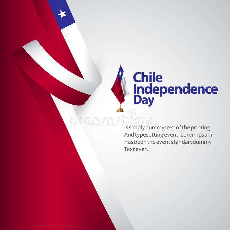 Chile Independence Day Vector Template Design Illustration. Flag blue red celebration background confetti decoration banner white national abstract holiday vector illustration