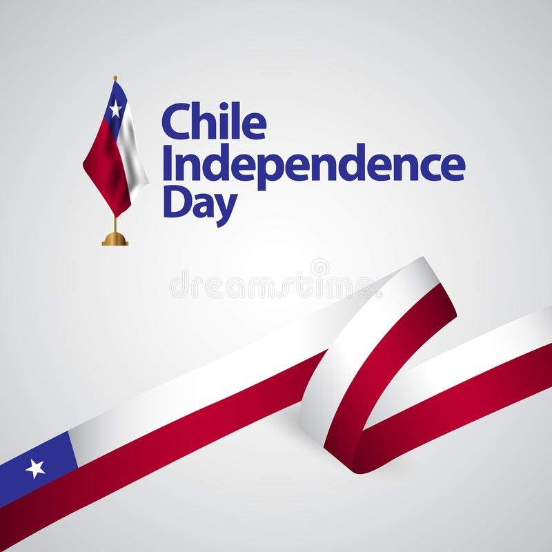 Chile Independence Day Vector Template Design Illustration. Flag blue red celebration background confetti decoration banner white national abstract holiday stock illustration