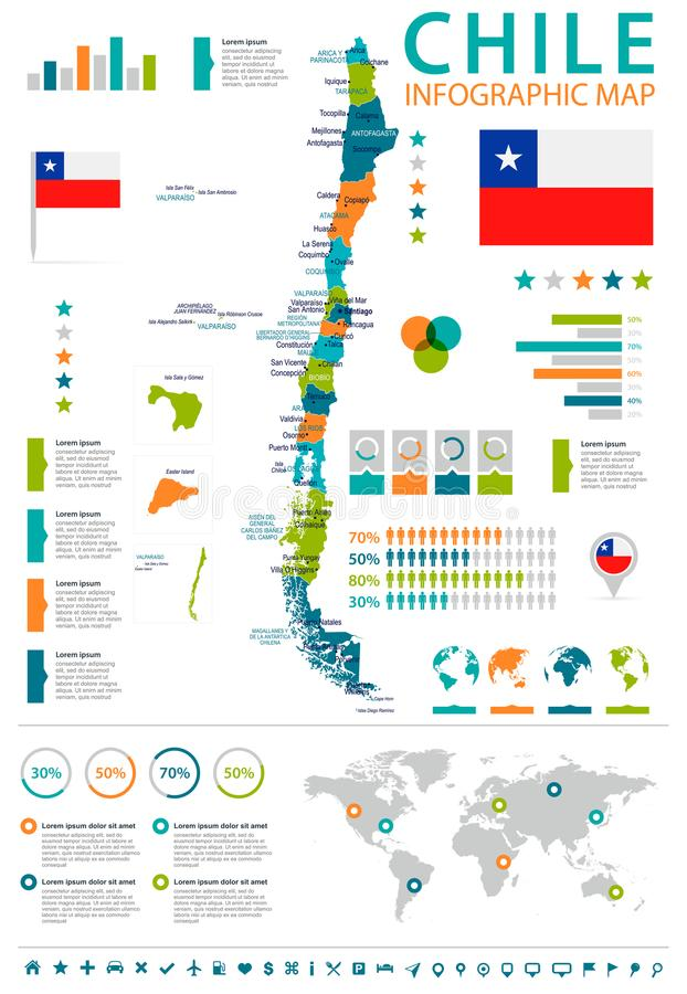 Chile - infographic översikt och flagga - detaljerad vektorillustration stock illustrationer