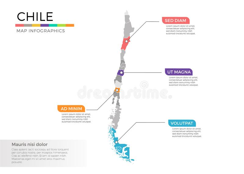 Chile map infographics vector template with regions and pointer marks. Chile map info-graphics vector template with regions, districts, state, country isolated vector illustration