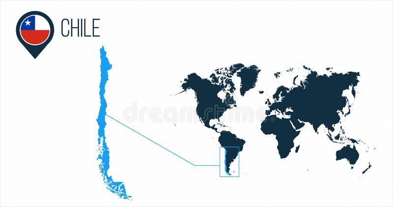 Chile map located on a world map with flag and map pointer or pin. Infographic map. Vector illustration isolated on white royalty free stock photography