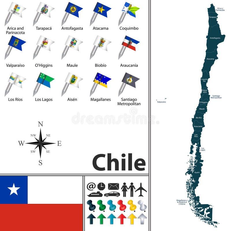 chile mapa royalty ilustracja