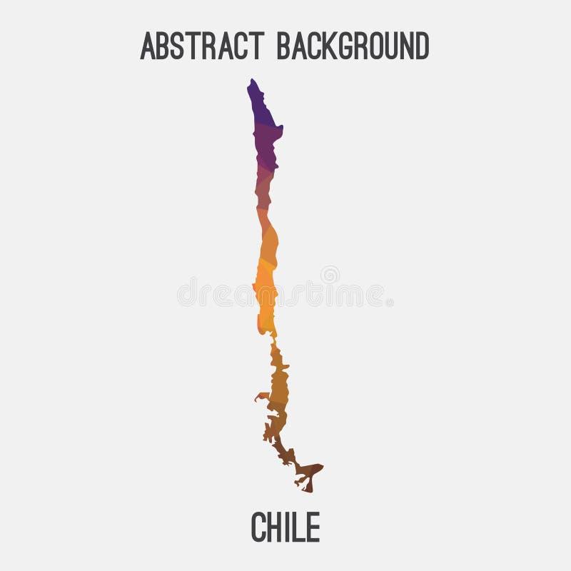 Chile mapa w geometryczny poligonalnym, mozaika styl ilustracja wektor