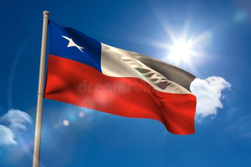 Chile national flag on flagpole royalty free illustration