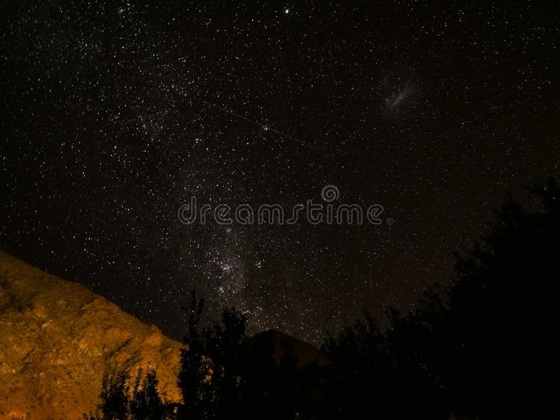 Chile night stars view with mountain royalty free stock photo