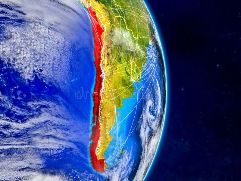 Chile på planetjord med nätverk Extremt detaljerade planetyttersida och moln illustration 3d Beståndsdelar av denna avbildar royaltyfri illustrationer