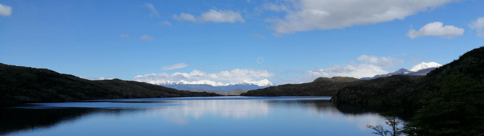 Chile Patagonia National Park Torres Del Paine Over The Pehoe Lake W circuit trekking stock photos