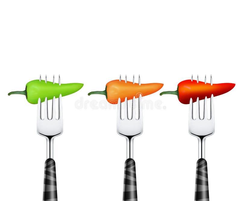 Chile perforado por la fork stock de ilustración