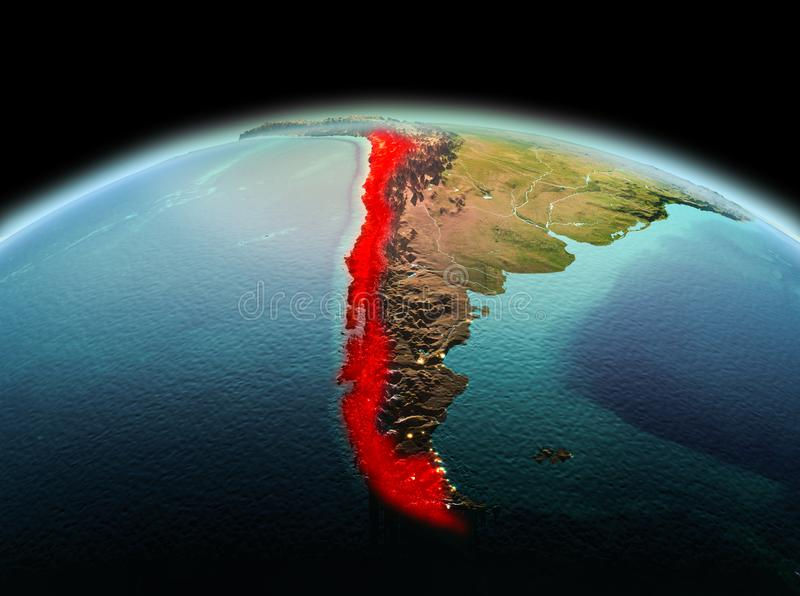 Chile on planet Earth in space. Morning above Chile highlighted in red on model of planet Earth in space. 3D illustration. Elements of this image furnished by stock photos
