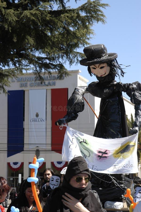 chile protestdeltagare royaltyfri bild