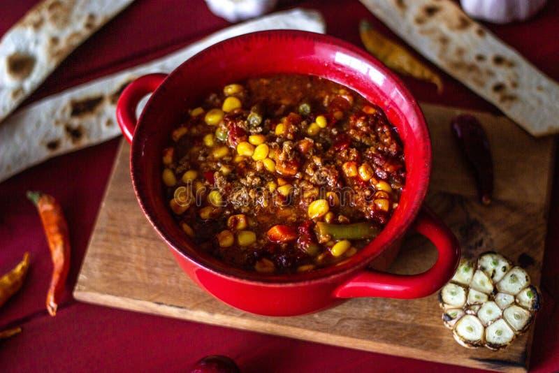 Chile przeciwu składniki dla on i carne kuchnia zieloną meksykańskiego sosu ostre tacos tradycyjne obraz royalty free