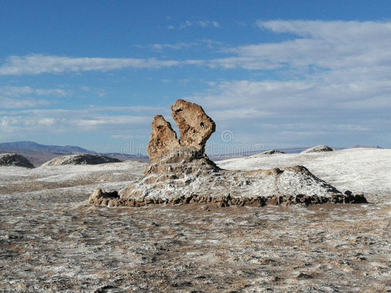 Chile San Pedro Atacama Desert Moon Valley Pacman Rock Sculpture. ! royalty free stock images