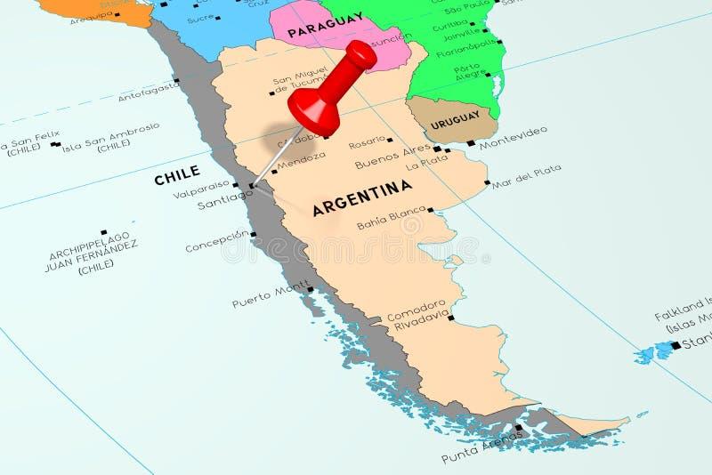 Chile, Santiago - stolica, przyczepiająca na politycznej mapie ilustracja wektor