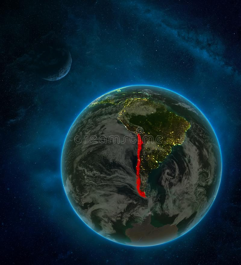 Chile from space on Earth at night surrounded by space with Moon and Milky Way. Detailed planet with city lights and clouds. 3D. Illustration. Elements of this royalty free illustration