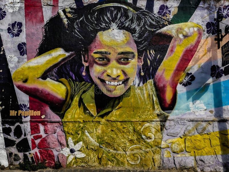 Chile Street Art młoda dziewczyna fotografia stock
