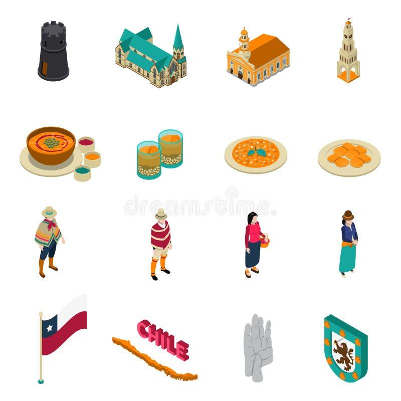 Chile Turystycznych przyciągań Isometric ikony Ustawiać royalty ilustracja