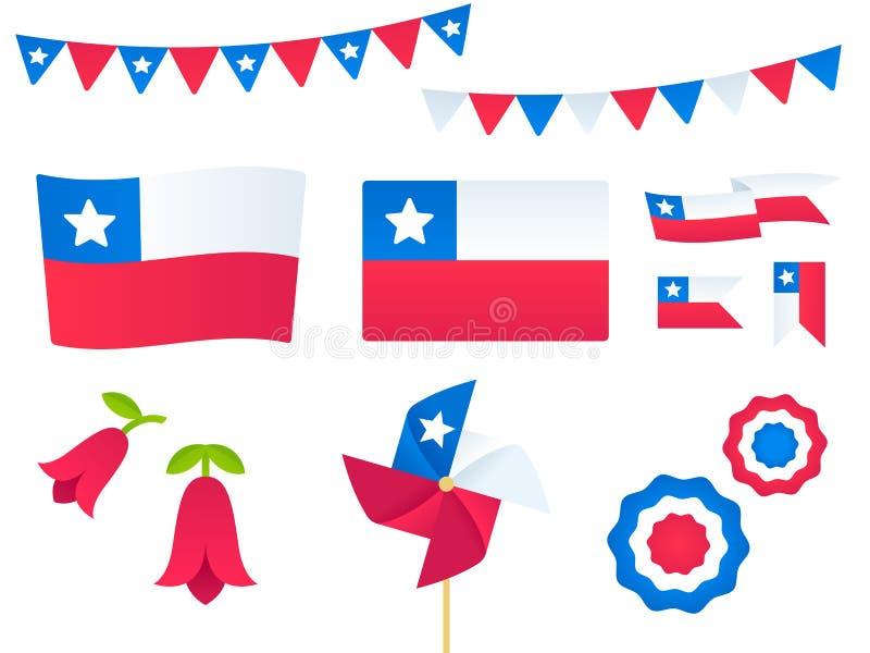 Chile-Vektorgestaltungselementsatz stock abbildung