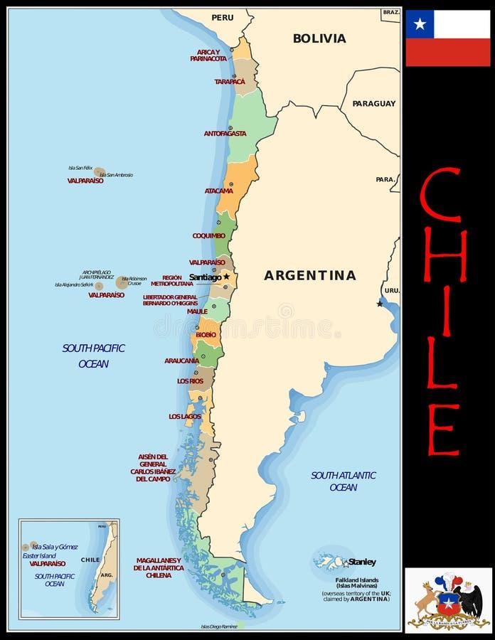 Chile-Verwaltungsabteilungen vektor abbildung