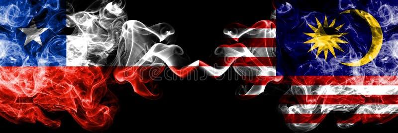 Chile vs Malaysia, malaysiska rökiga mystikerflaggor förlade sidan - vid - sidan Tjockt kulört silkeslent röker kombinationen av  stock illustrationer