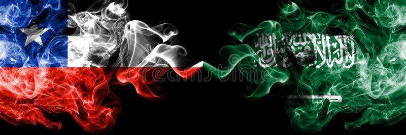 Chile vs Saudiarabien, arabiska rökiga mystikerflaggor förlade sidan - vid - sidan Tjockt kulört silkeslent röker kombination av  fotografering för bildbyråer