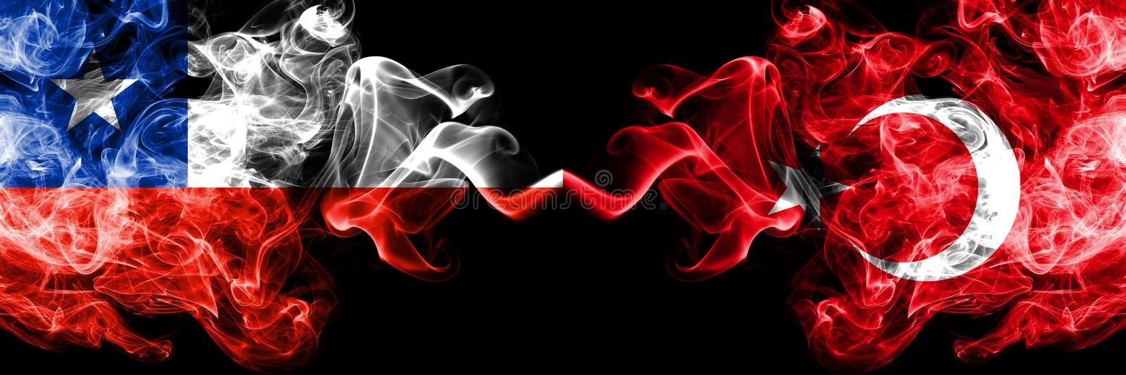 Chile vs Turkey, Turkish smoky mystic flags placed side by side. Thick colored silky smokes combination of Turkey, Turkish and. Chilean flag stock images