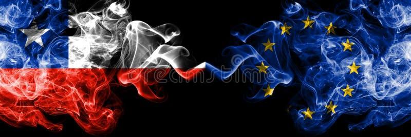 Chile vs unia europejska, UE dymiące tajemnicze flagi umieszczająca strona strona - obok - Gęsta barwiona silky dym kombinacja un ilustracji