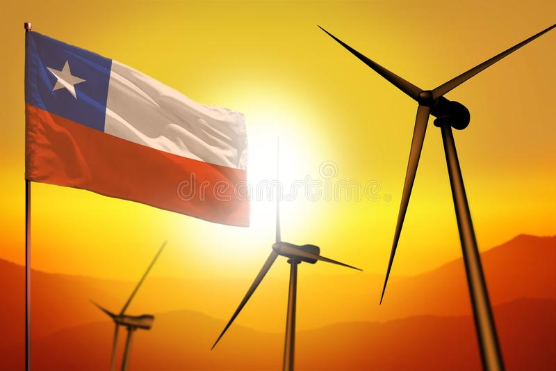 Chile-Windenergie, Umweltkonzept der alternativen Energie mit Windkraftanlagen und Flagge auf industrieller Illustration des Sonn lizenzfreie abbildung